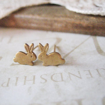 BUNNY petite rabbit post earrings gold nicklefree by brideblu