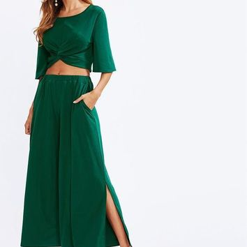 Two Piece Half Sleeve Crop Top With Slit Palazzo Pants