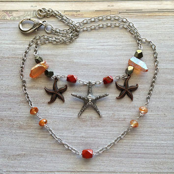 Starfish Healing Raw Crystal Necklace Peach Quartz Points Big Charm Orange Beaded Nautical