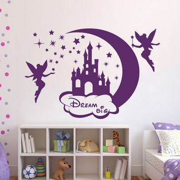 Wall Decals Vinyl Sticker Decal for Kids Nursery Bedroom Castle Fairy Tinkerbell Dream Big  Home Decor Art Murals Girl Room MM37