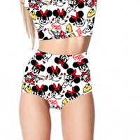 Mickey Mouse Two Piece Cap Sleeved Crop Top High & Waist Bottom Swimsuit