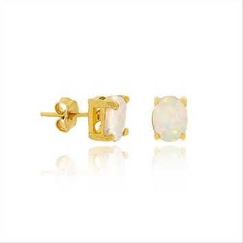 Gold Tone over Sterling Silver Created White Opal 6x4mm Oval Stud Earrings