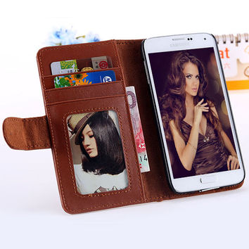 Deluxe Retro Case for Samsung Galaxy S5 S6 Edge Plus S7 Leather Cover Wallet Stand With Photo Frame & Card Slot Phone Bags