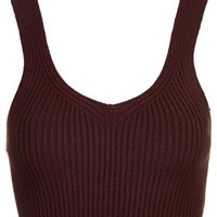 Ribbed Cropped Vest - Burgundy