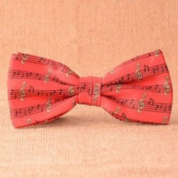 Stylish Musical Notes Pattern Red Bow Tie For Men