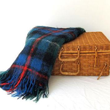 Vintage retro 1960s blue green and red plaid mohair wool picnic travel blanket throw