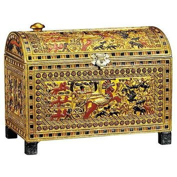 Tutankhamun Royal Treasure Chest Box with Tut Hunting Small Scale 5.75L