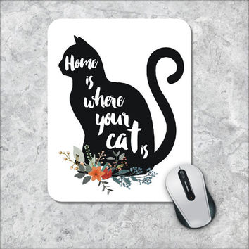 Cat Silhouette Mousepad, Quote Mousepad, Floral Mousepad, Watercolor Mouse Mat, Custom Mousepad, Animal Mouse Pad, Wooden Mousepad, Cute Pad