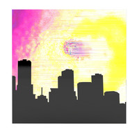 "Infinite Spray Art ""Skylined"" Pink Yellow Luxe Square Panel"