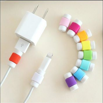 10pcs USB Charger Data Line Cable Protector Cover Earphone Charging Wire Cord Protection Sleeve Cable Winder For iPhone 5s 6s