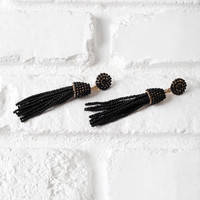 Black Beaded Tassel Drop Earrings