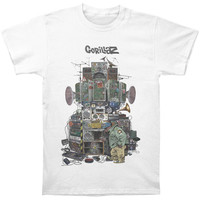 Gorillaz Men's  Multi Boomboxes Slim Fit T-shirt White