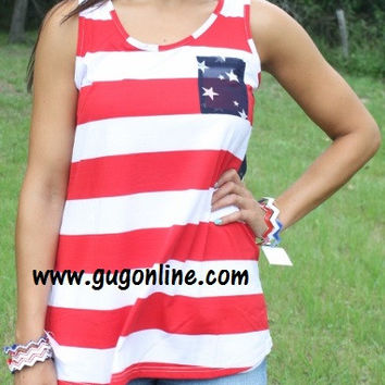Land of the Free Striped Tank with Sheer Navy Back with Stars