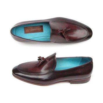 DCK7YE Paul Parkman Men's Tassel Loafer Black & Purple Shoes (ID#049-BLK-PURP)