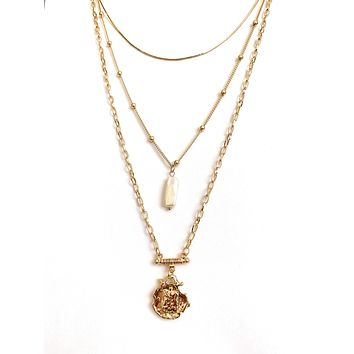 Three Layer Necklace with Simulated Pearl and Gold Pendant