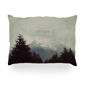 "Robin Dickinson ""Brave The Storm"" Snow Mountain Oblong Pillow"