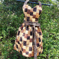 Full Bib Apron in Brown African Print, with a sweetheart neck and long ties, Flirty, gift, women's,