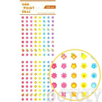Rainbow Colored Daisy Flower Floral Sticker Envelope Seal for Scrapbooking and Decorating