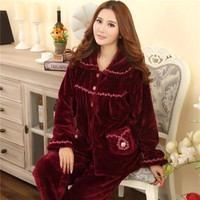 Pajamas Women long-sleeved flannel plus-size thick coral velvet pajamas