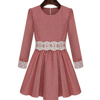 Plaid Long Sleeve Lace Embroidered A-Line Mini Skater Dress