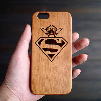Super Man Cherry Wood iPhone 6 6S One Piece  Case , Custom Wood iPhone 6 6s Case , Wooded iPhone 6 6s Case , Wood Phone Case for iPhone 6S