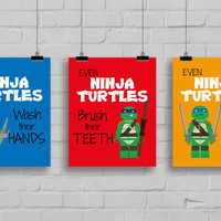 "Lego Ninja Turtles Bathroom Prints - Set of 3 -  ""Even Ninja Turtles wash their hands"" TMNT, Pop Art Print, Kids Bathroom Print"