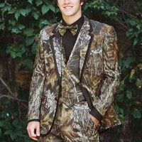 Fall Leaves Camo Men's Farm Wedding Slim Fit Custom Fit Tuxedo