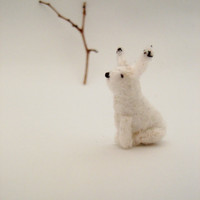 White Rabbit Plush  Miniature Felt Rabbit  Arctic by PossumTree