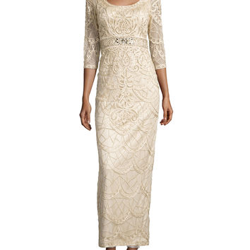 Women's Draped-Back Beaded Long Column Gown, Champagne - Sue Wong - Champagne