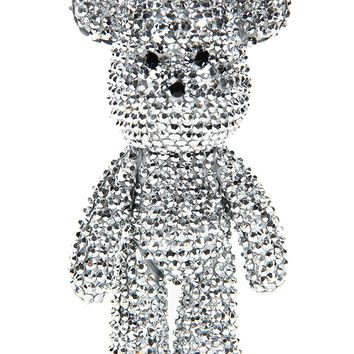 Large rhinestone teddy bear keychain -silver- from Love Melrose