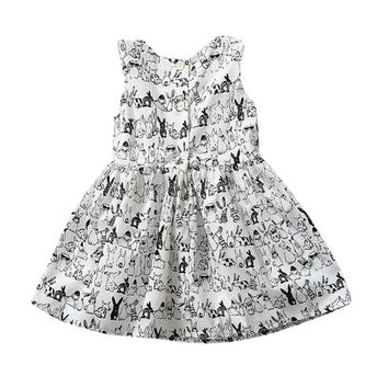 Pro Baby Girl Sleeveless Cartoon Dress Infant White Bunny Rabbit Print Ball Gown Tutu Dress Casual Kids Easter Clothes SM6