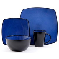 Gibson Bella Soho 16-Piece Square Reactive Glaze Dinnerware Set, Blue/Black