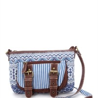 Cross Body Handbag with Tribal Stripes and Two Buckles