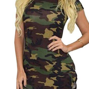 Green Army Camoflage Print Sexy Bodycon Bandage Dress Mini Short Dress Casual Dresses For Woman 2016 Summer Plus Size Spring New