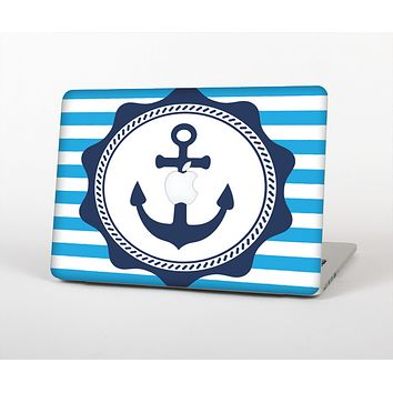 The Vector Navy Anchor with Blue Stripes Skin Set for the Apple MacBook Pro 15""
