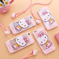 Hollow out hello kitty case for iphone 5 5s for iphone 7 7plus /6 6S plus soft cover cute cartoon pink girl cat women case +rope