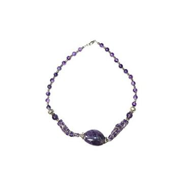 Fashion Purple Amethyst Beads Necklace- Twisted Beads Stones Jewelry