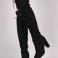 Qupid Suede Lace-Up Chunky Heeled Boots
