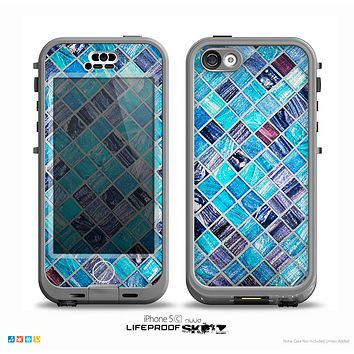 The Vibrant Blue Glow-Tiles Skin for the iPhone 5c nüüd LifeProof Case