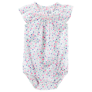 Baby Girl OshKosh B'gosh® Floral Smocked Bodysuit