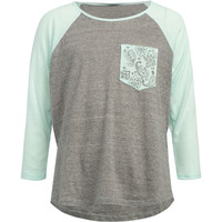 FULL TILT Paisley Pocket Girls Basball Tee | Knit Tops & Tees