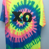 Chi Omega Medium Tie Dye T Shirt with Greek Letters - Ready to Ship!