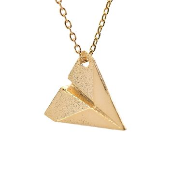 Handmade Brushed Metal Paper Plane Necklace