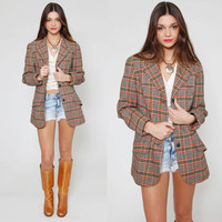 Vintage 70s Plaid PENDLETON Jacket Wool Fall Blazer Tweed Suit Coat Preppy Jacket