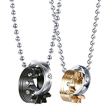 Couples Necklace Crown Ring Pendant Necklaces for Lover His and Hers Necklace Titanium Steel Crystal Royal Chains Set (Black and Gold)