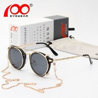 Men women Steampunk sunglasses Free glasses chain round brand designer retro gothic luxury sunglasses #SG9081