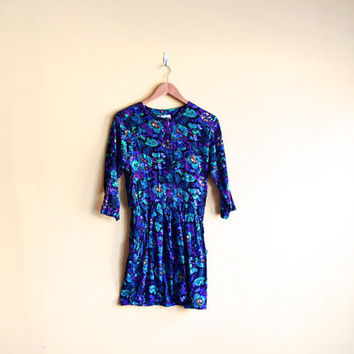 Vintage 80s Floral and Paisley Mini Dress - Floral Mini Dress Paisley Dress Long Sleeve Dress Floral Dress Women Blue Floral Dress Large