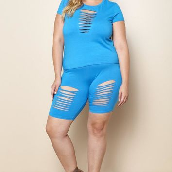 Ripped Cut Out Top & Plus Size Short Matching Set
