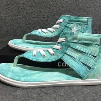 DCCKFC8 Converse Leisure Mint Green Tie-dye Herringbone Roman Sandals
