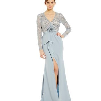 Terani Couture Faux-Wrap Beaded Gown | Dillards